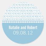 Geek Chic Binary Code Wedding Stickers, Blue Round Stickers