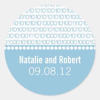 Geek Chic Binary Code Wedding Stickers, Blue Classic Round Sticker