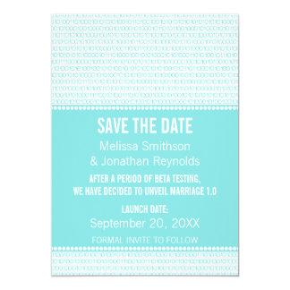 Geek Chic Binary Save the Date Invite, Aqua Card