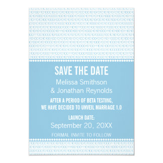 Geek Chic Binary Save the Date Invite, Blue Card