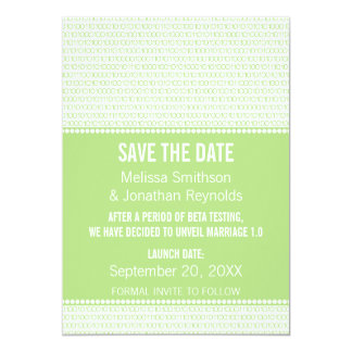 Geek Chic Binary Save the Date Invite, Green Card