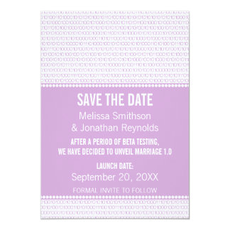 Geek Chic Binary Save the Date Invite, Lilac Card