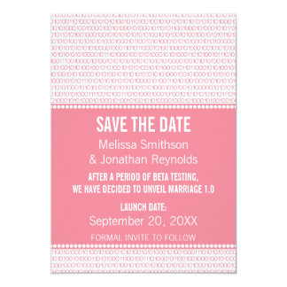Geek Chic Binary Save the Date Invite, Pink Card