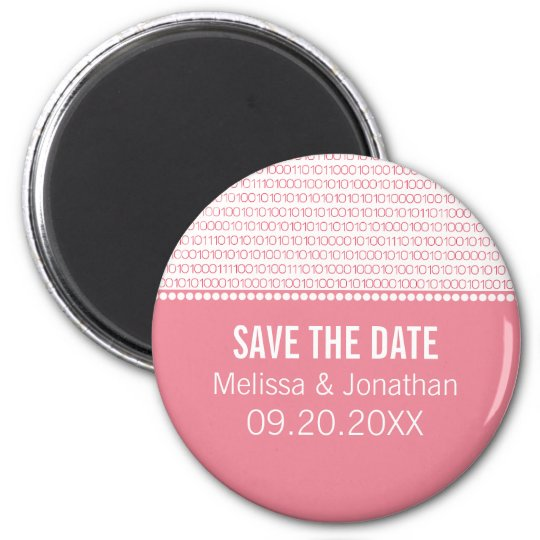 Geek Chic Save the Date Magnet, Pink Magnet