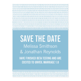 Geek Chic Save the Date Postcard, Blue