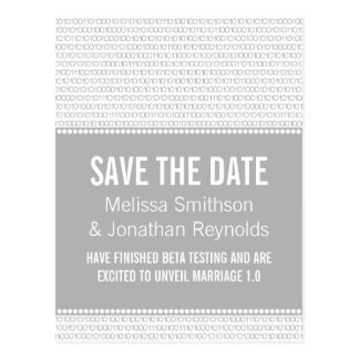 Geek Chic Save the Date Postcard, Gray