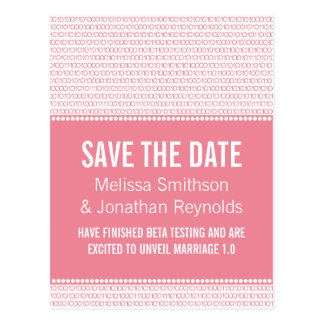 Geek Chic Save the Date Postcard, Pink
