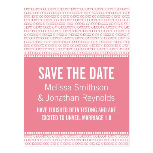 Geek Chic Save the Date Postcard, Pink Postcard