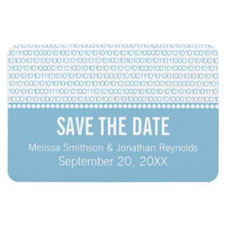 Geek Chic Save the Date Premium Magnet, Blue