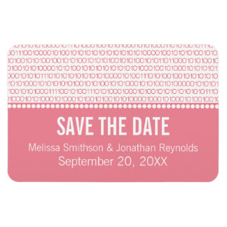 Geek Chic Save the Date Premium Magnet, Pink