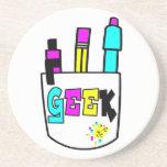 geek cmyk pocket protector design drink coaster