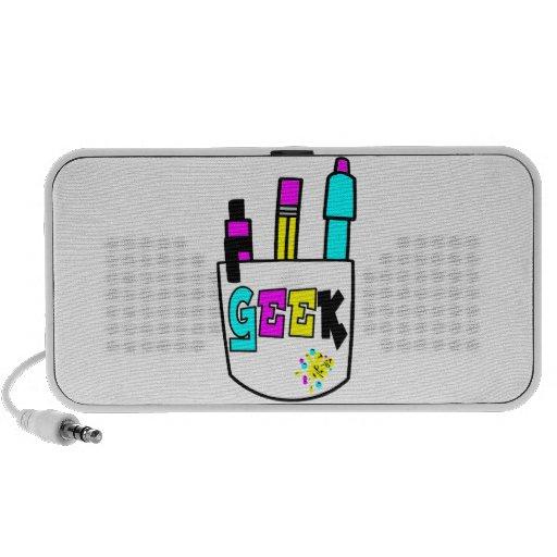 geek cmyk pocket protector design travelling speakers