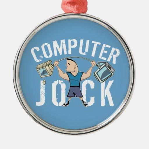 Geek Computer Jock Round Metal Christmas Ornament