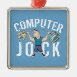 Geek Computer Jock Square Metal Christmas Ornament