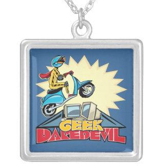 Geek Daredevil Jump Square Pendant Necklace