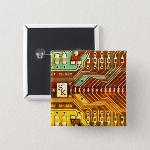 Geek Ethnic printed circuit board robotic Initials Button