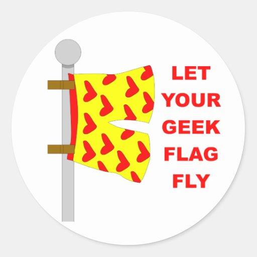 geek flag round sticker