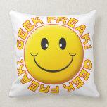 Geek Freak Smile Throw Pillow