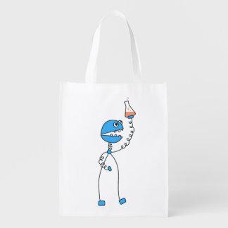 Geek Funny Cartoon Robot Chemistry Grocery Bag
