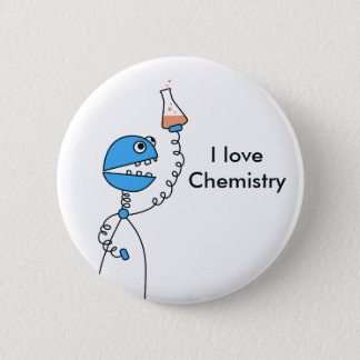 Geek Funny Cartoon Robot Love Chemistry Button