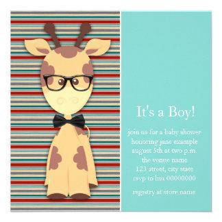 Geek Giraffe Baby Boy Shower Personalized Invite