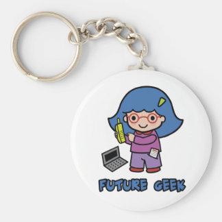 Geek Girl Basic Round Button Keychain