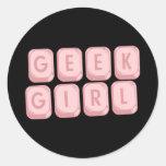 Geek Girl Pink Keyboard Classic Round Sticker