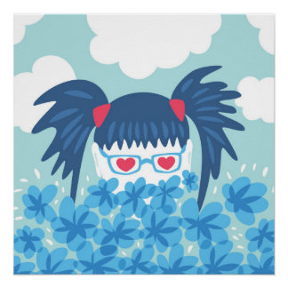 Geek Girl With Blue Hair And Flowers Poster