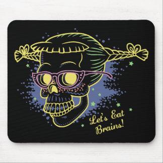 Geek Girl Zombie Skull Mouse Pad