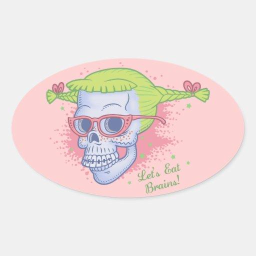 Geek Girl Zombie Skull Oval Sticker