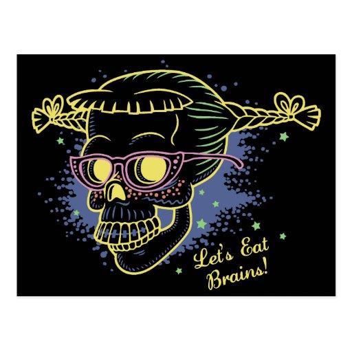 Geek Girl Zombie Skull Postcard