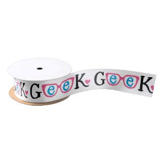 Geek Glasses Ribbon with Pink Heart