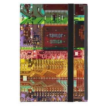 Geek & Glitch printed circuit board robotic Name Case For iPad Mini