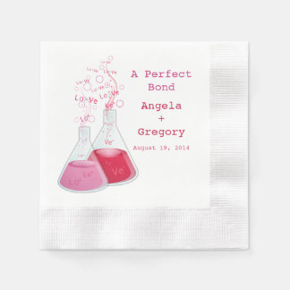 Geek Heart Chemistry Offbeat Personalized Wedding Coined Cocktail Napkin