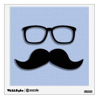 Geek Hipster Moustache Glasses Wall Sticker