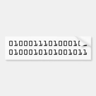 """GEEK"" in binary code Car Bumper Sticker"