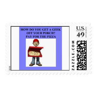 geek joke postage stamp