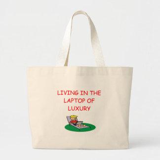 geek laptop joke large tote bag