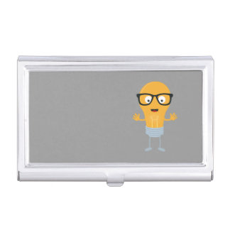 Geek light bulb with glasses Z76fc Business Card Holder