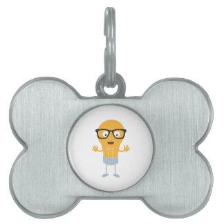 Geek light bulb with glasses Z76fc Pet ID Tag