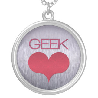 Geek Love (Heart) Necklace, Dark Pink Silver Plated Necklace