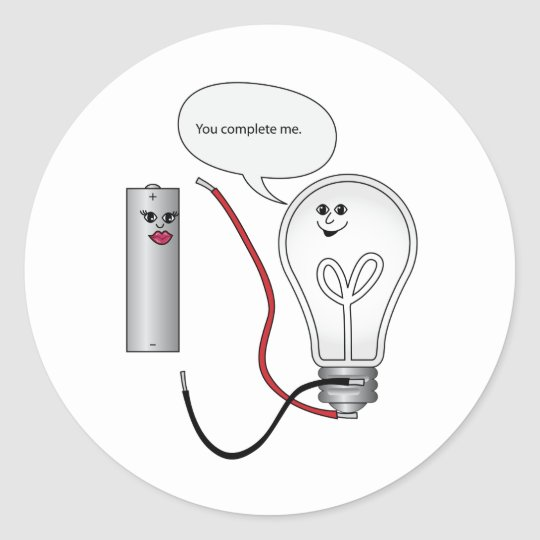 Geek Love You Complete Me Electrical Circuit Classic Round Sticker