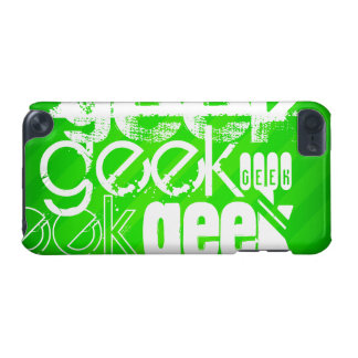 Geek; Neon Green Stripes iPod Touch 5G Cover