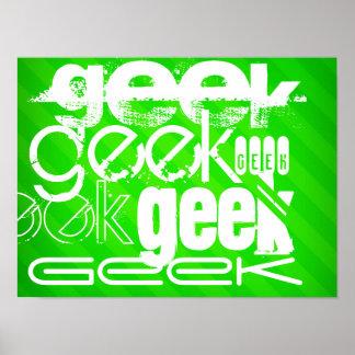 Geek; Neon Green Stripes Poster
