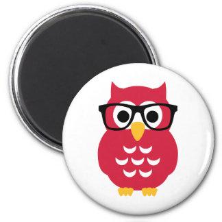 Geek nerd owl 2 inch round magnet