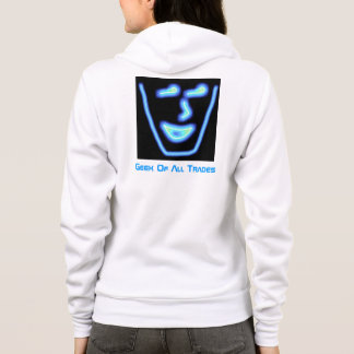Geek Of All Trades blue and white hoodie