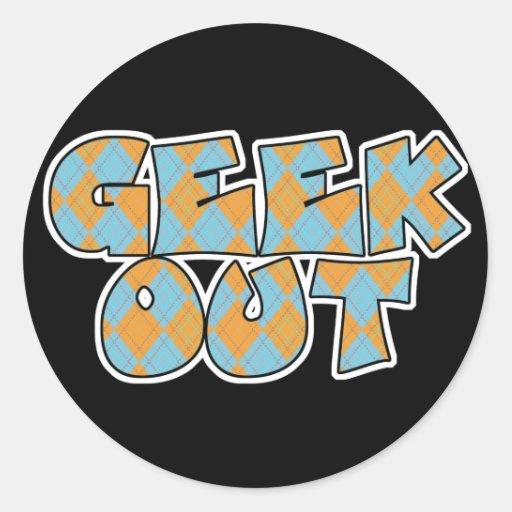 Geek Out Argyle Text Design Classic Round Sticker