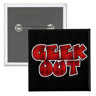 Geek Out Plaid Text Design Pinback Button