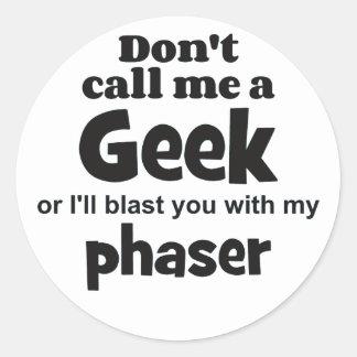 Geek phaser bf classic round sticker