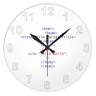 Geek php Greeting Large Clock